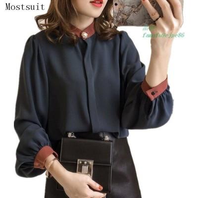 M 4xl プラスサイズ Blusas Mujer 着物 女性 秋 シフォン ブラウス トップス 襟 パール ボタン 長袖 韓国 オフィス シャツ グループ上 レディース 衣服 から
