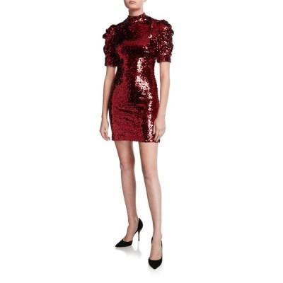 アリス アンド オリビア レディース ワンピース トップス Brenna Sequin Mock-Neck Puff-Sleeve Fitted Dress