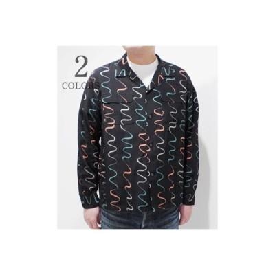 スターオブハリウッド 長袖 オープンカラーシャツ STAR OF HOLLYWOOD WAVY STRIPES L/S OPEN SHIRT SH28123