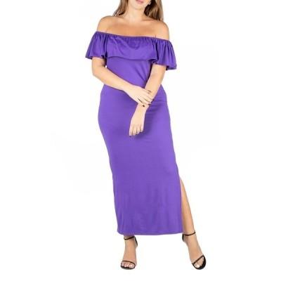 24セブンコンフォート ワンピース トップス レディース Women's Plus Size Ruffle Off Shoulder Maxi Dress Purple