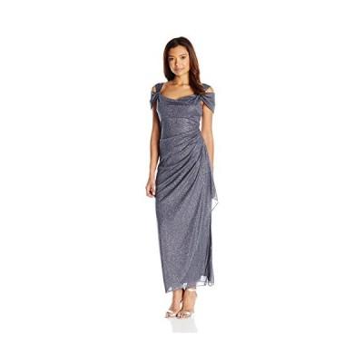 Alex Evenings レディース ロング ドレス with Side-Ruched スカート, スモーク, 12 Petite(海外取寄せ品)