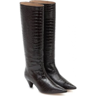 ジョゼフ Joseph レディース ブーツ シューズ・靴 Croc-Effect Leather Knee-High Boots Cioccolato