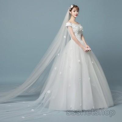 ウェディングドレス 白ドレス 結婚式 花嫁ドレス オフ ショルダー 海外挙式 プリンセスドレス ブライダル レトロドレス レディース 2020新作【sssnetshop】