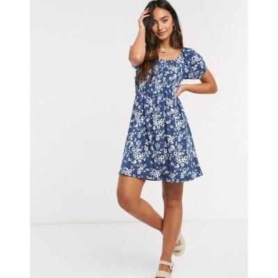 QEDロンドン レディース ワンピース トップス QED London mini dress in navy floral print Navy