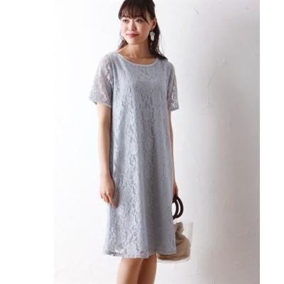 大きいサイズ 総レースワンピース(オトナスマイル) ,スマイルランド, ワンピース, plus size dress
