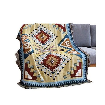 WarmTide Indian Soft Southwestern Throw Blankets with Tassels Cozy Cotton Woven Aztec Knitted Bed Couch Throws Sofa Chair Towel Multi-Functi