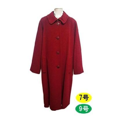 ロングコート  ウール ステンカラー 秋冬 レッド 赤 9号 11号 Renown ロガ レディースファッション ミセス