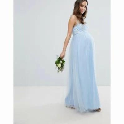 チチロンドン ワンピース Bardot Neck Sleeveless Maxi Dress with Premium Lace and Tulle Skirt Bluebell/gold