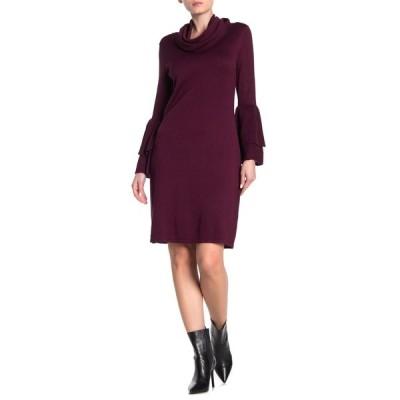 ニナレオナルド レディース ワンピース トップス Cowl Neck Bell Sleeve Sweater Dress DEEP WINE