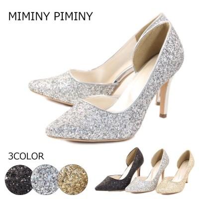 MIMINY PIMINYパンプス パンプス ポインテッドトゥ ハイヒール グリッター 9.5cm 結婚式 パーティー 10-7532