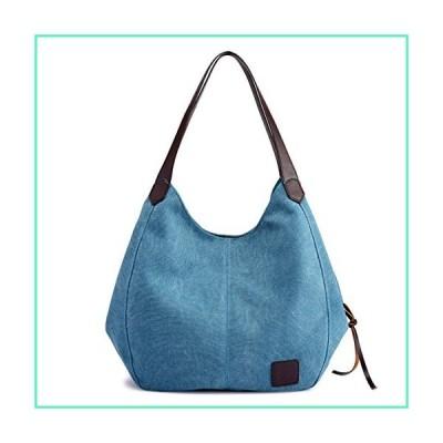 Hiigoo Fashion Women's Multi-pocket Cotton Canvas Handbags Shoulder Bags Totes Purses (Blue)並行輸入品