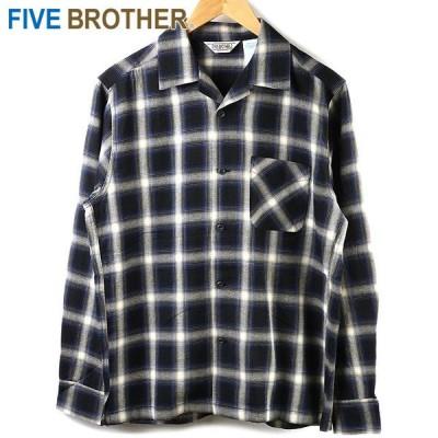 ファイブブラザー FIVEBROTHER メンズ ライトフランネル ワンナップ ワークシャツ LIGHT FLANNEL L S ONEUP SHIRTS 152101 SS21 長袖 OMBRE BLUE ブルー系