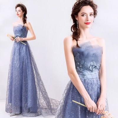 【ANGEL】ベアトップチュールレースラインストーンスパンコール背中編上げAラインロングドレス【送料無料】高品質 ブルー 青 ロングドレス