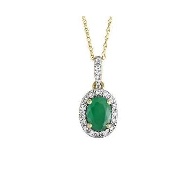 レディース アクセサリー  14K 0.12 ct. tw. Diamond & Emerald Necklace