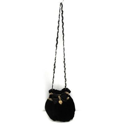 【中古】ベロア ショルダー バッグ 巾着 リボン ブラック ゴールド かばん 鞄 レディース 【ベクトル 古着】