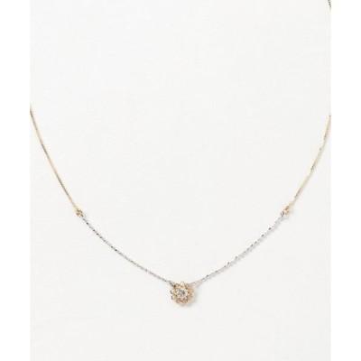 ネックレス K18/K18WGダイヤフラワーネックレス