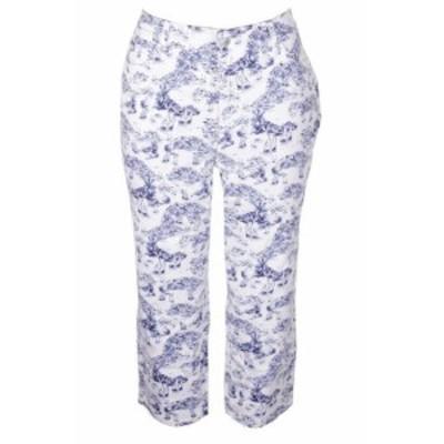 Paisley  ファッション パンツ Charter Club Plus Size Blue White Paisley Print Tummy-Control Bristol Trousers