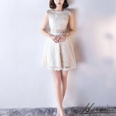 韓国 パーティードレス ノースリーブ ミニ レース セクシー ワンピドレス  結婚式 二次会 秋冬 パーティー 20代 30代 40代