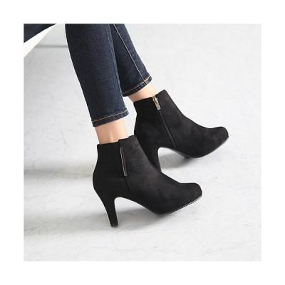 ブーティ 裏起毛 ブーティー ピンヒール サイドジッパー スエード調 ブーティ レディース ファッション レディース 靴 婦人靴 30代 40代