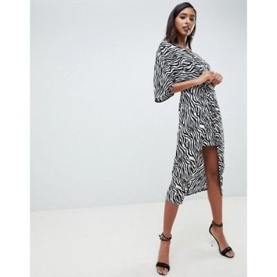 エイソス レディース ワンピース トップス ASOS DESIGN knot front midi kimono dress in zebra Animal print
