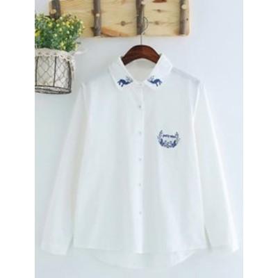 レディースシャツ長袖ブラウス清新・2個以上購入で送料無料・春秋シンプル白色ガーリー通学トップス 鹿刺繍きれいめ森ガール系