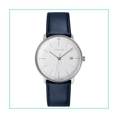 Junghans Max Bill クォーツ 041/4464.00 38mm ステンレススチールケース ブルー カーフスキン ガラス メンズ 腕時計並行輸入品