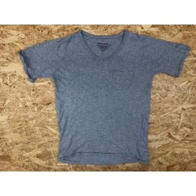 niko and... ニコアンド Lサイズ メンズ Tシャツ Vネック 無地 ラグランスリーブ 胸ポケ ポケT 半袖 綿100% ヘザーグレー 杢灰色