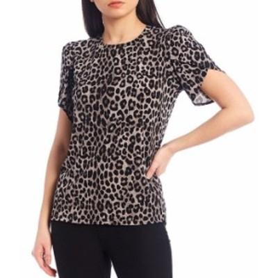 マイケルコース レディース Tシャツ トップス MICHAEL Michael Kors Mega Cheetah Print Lux Matte Jersey Tulip Sleeve Top Gunmetal