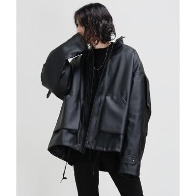 アウター エコレザーオーバーサイズシャツジャケット