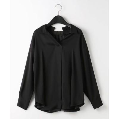 COMME CA/コムサ バックサテンジョーゼット デザインシャツ ブラック 9号