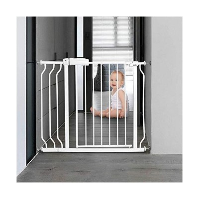 ALLAIBB Walk Through Baby Gate  Auto Close Tension White Metal  Child Pet Safety Gates with Pressure Mount for Stairs,Doorways and Baniste 3