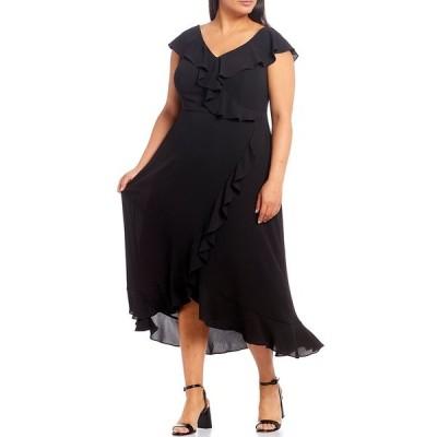 ロンドンタイムス レディース ワンピース トップス Plus Size Ruffle Crepe Cap Sleeve Faux Wrap Midi Dress Black