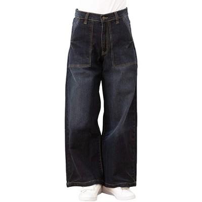デニム ワイド ベイカー パンツ 大きい サイズ レディース 大きいサイズ 春夏 ストレート ポケット 綿 イージー(ネイビー, M)