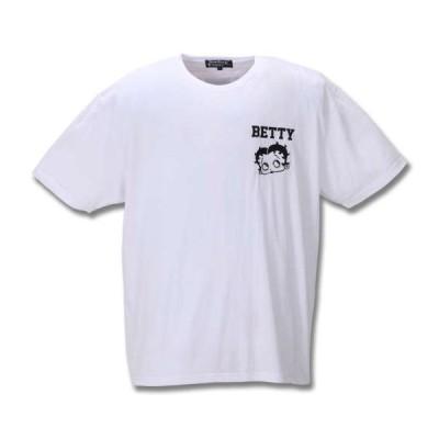 大きいサイズ メンズ BETTY BOOP 刺繍プリント半袖Tシャツ