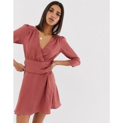 エイソス ASOS DESIGN レディース ワンピース ワンピース・ドレス wrap mini dress with ruched waist Washed pink