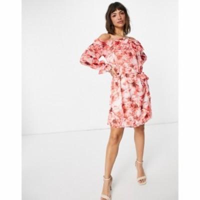 ヴィラ Vila レディース ワンピース ミニ丈 ワンピース・ドレス off shoulder mini dress in abstract red floral レッドフローラル