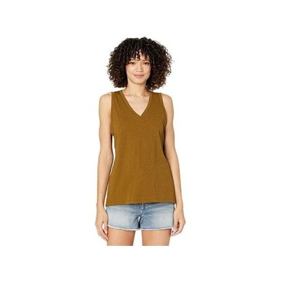 Madewell Whisper Cotton V-Neck Tank レディース シャツ トップス Weathered Olive
