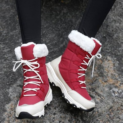 スノーブーツ レディース 防水 防滑 起毛 レースアップ ショートブーツ レディースブーツ 防寒 あたたかい靴 ブーツ シューズ レディースシューズ ママコーデ …