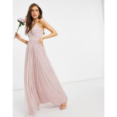 アナヤ マキシドレス レディース Anaya With Love Bridesmaid tulle plunge front maxi dress in pink エイソス ASOS ピンク