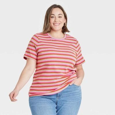 アヴァ&ヴィヴィ Ava & Viv レディース Tシャツ 大きいサイズ トップス Plus Size Ribbed T-Shirt - Pink