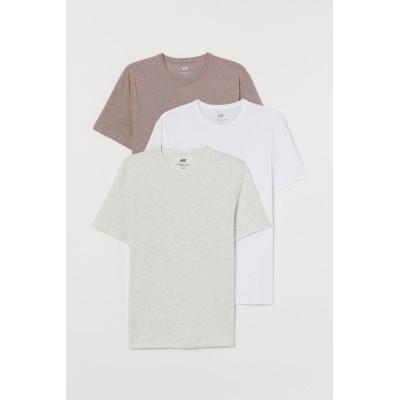 H&M - スリムフィットTシャツ 3枚セット - ベージュ