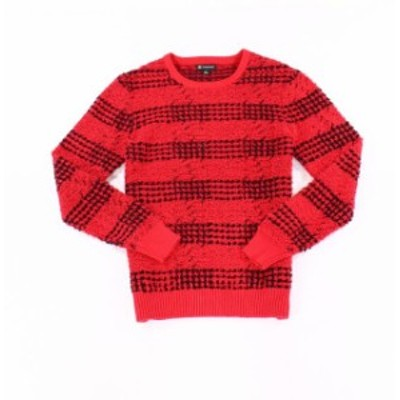 Red  ファッション トップス INC NEW Red Black Mens Size 2XL Striped Pullover Crewneck Sweater