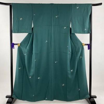 小紋 美品 秀品 萩 箔散らし柄 金彩 緑 袷 身丈163cm 裄丈63cm S 正絹 中古