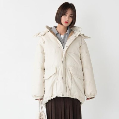 BANHARU レディース ジャケット Loose-fit Hooded Down Padded Jacket