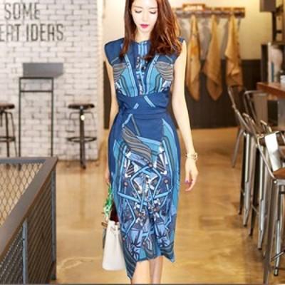 ワンピース レディース スカーフ柄 ロングワンピース 韓国ファッション きれいめ