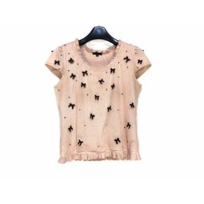 トゥービーシック TO BE CHIC 半袖セーター サイズ2 M レディース ピンク×黒 リボン/ビーズ【還元祭対象】【中古】20200319
