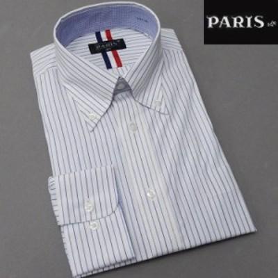 長袖ワイシャツ 白地×紺×青 ストライプ セミロングポイントカラー ボタンダウン PARIS-16e 形態安定 HKP-B08