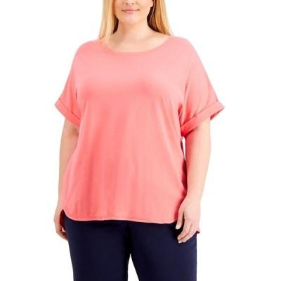 ケレンスコット Tシャツ トップス レディース Plus Size Cuffed-Sleeve T-Shirt, Created for Macy's Peony Coral