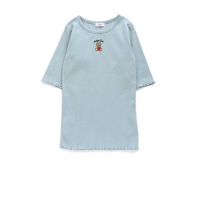 クマ刺繍リブT