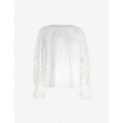 クロエ SEE BY CHLOE レディース ブラウス・シャツ トップス Cutout-sleeve flared-cuff cotton blouse WHITE